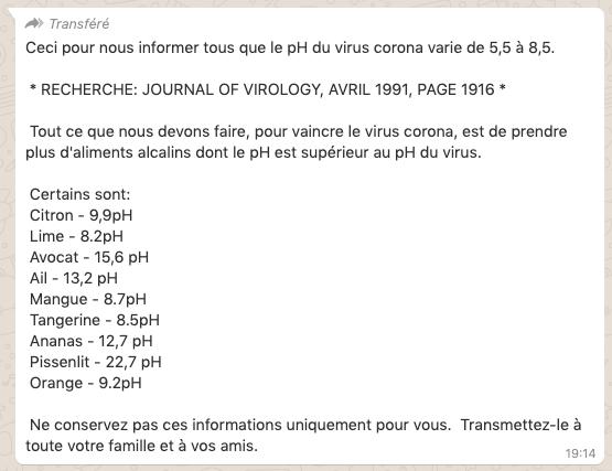 le pH du virus corona varie de 5,5 à 8,5